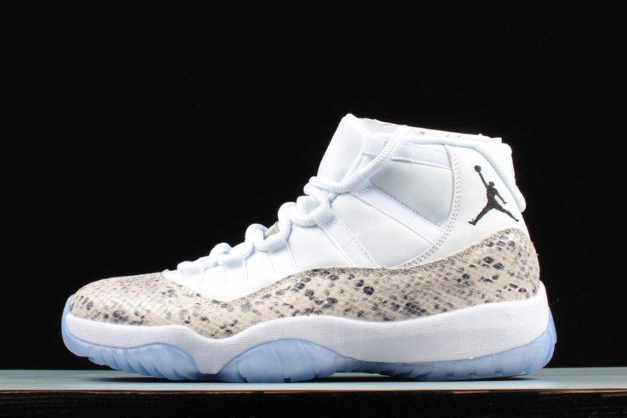 Air Jordan 11 Custom Snake Skin White Black Feature 45 On The Heel