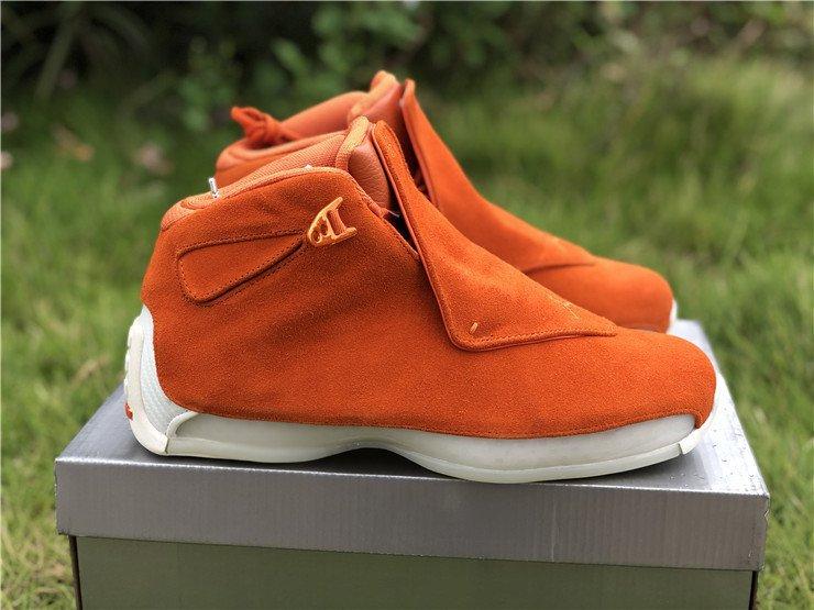 Air Jordan 18 Orange Suede Campfire Orange-Sail