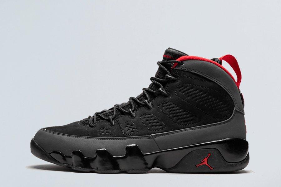 Air Jordan 9 Retro Black Varsity Red-Dark Charcoal On Sale