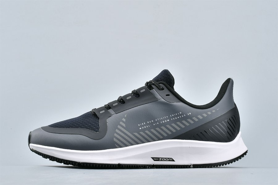 Mens Nike Air Zoom Pegasus 36 Shield Cool Grey Black Running Shoes AQ8005-003 For Sale