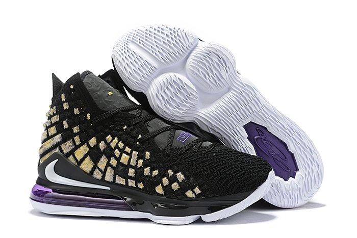 Nike LeBron 17 Lakers Black White-Eggplant-Amarillo For Sale
