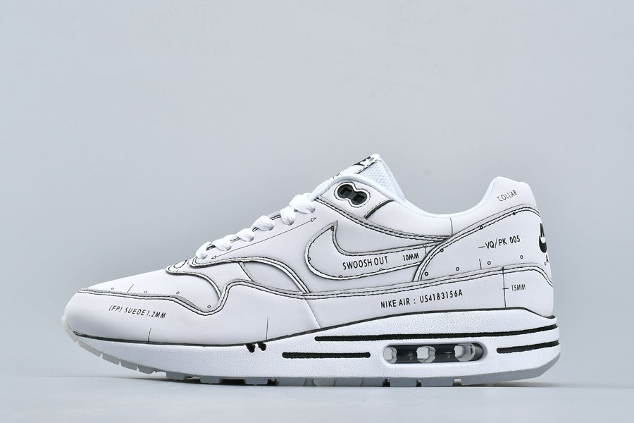 White Schematic Nike Air Max 1 Sketch To Shelf CJ4286-100 Not For Resale