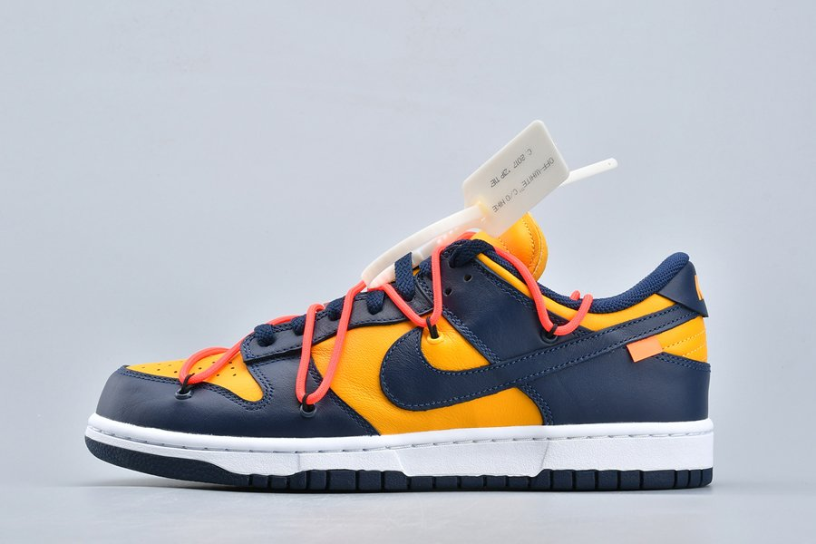 Buy Off-White x Nike Dunk Low Leather University Gold Midnight Navy