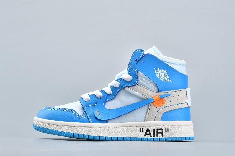 Kids OFF-WHITE x Air Jordan 1 UNC Powder Blue For Sale