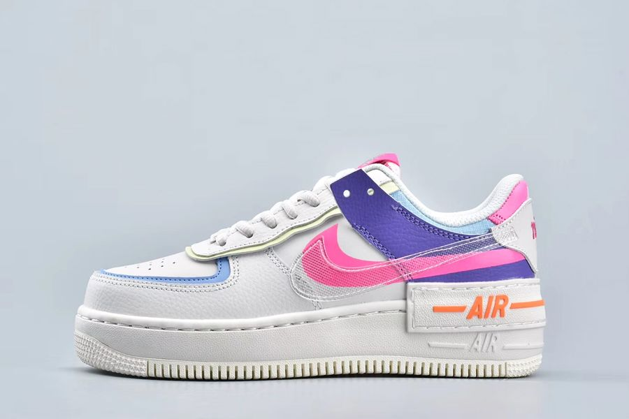 Double-Layered Nike Air Force 1 Shadow Double Swoosh Sail Pink Purple