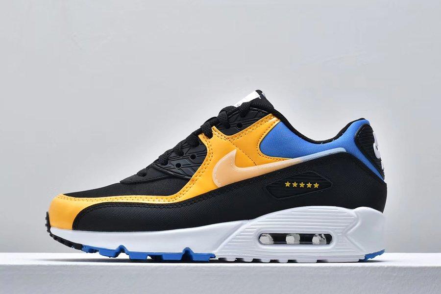 2020 Nike Air Max 90 Shanghai Black Blue Yellow CT9140-001 For Sale