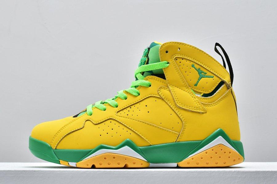 Air Jordan 7 Oregon Ducks PE Yellow Green For Sale