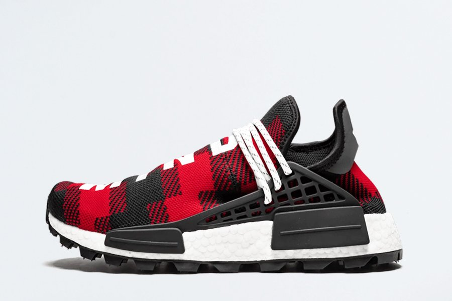 BBC x Pharrell x adidas NMD Hu TR Red Plaid Friends and Family For Sale