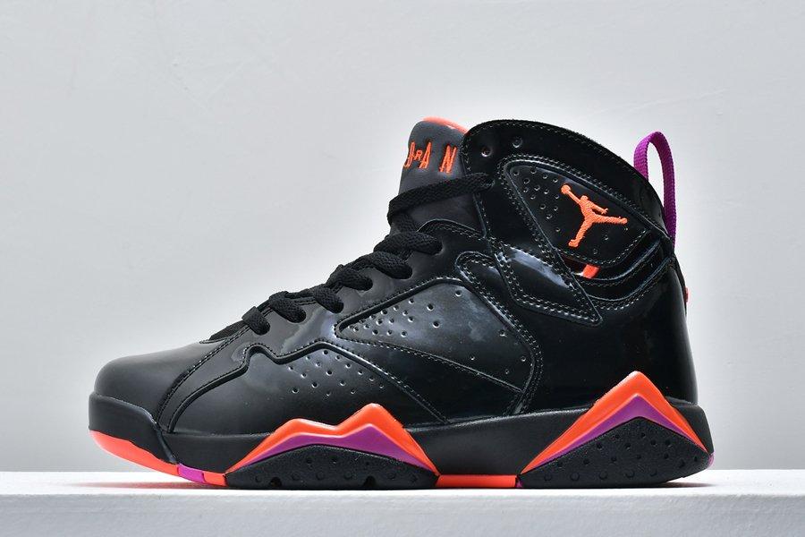 Mens Air Jordan 7 Halloween Black Patent Leather For Sale