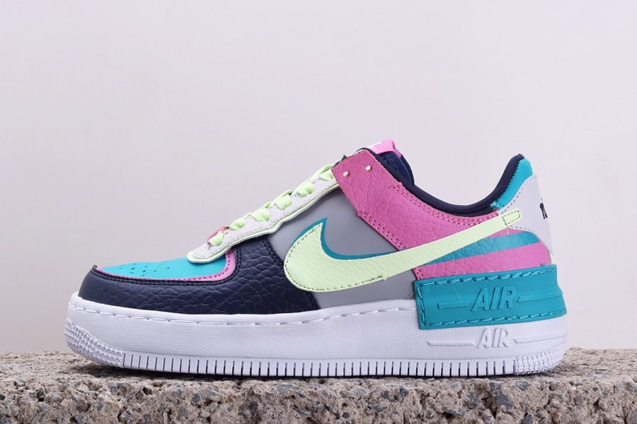 Nike WMNS Air Force 1 Low Shadow Easter Aqua Pink Volt On Sale