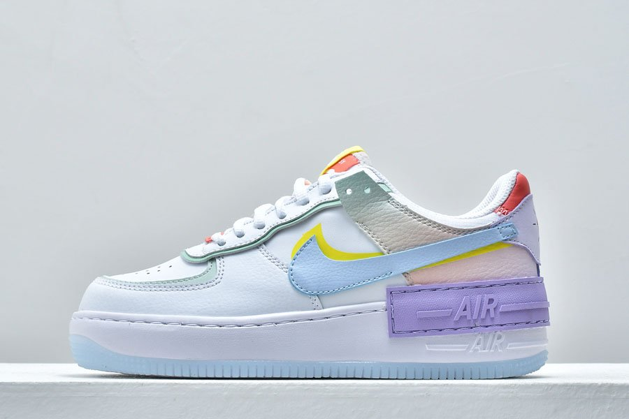 Nike WMNS Air Force 1 Low Shadow White Diamond Blue-Purple-Yellow To Buy