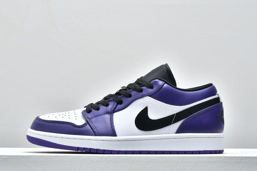 Air Jordan 1 Low Court Purple White-Black 553558-500 Free Shipping