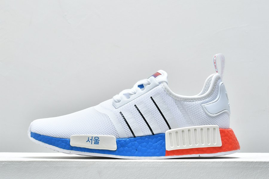 adidas NMD R1 Cloud White Core Black-Blue FY1163 For Sale