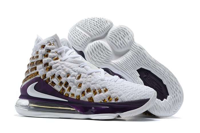 New Lakers-Themed Nike LeBron 17 White Purple On Sale