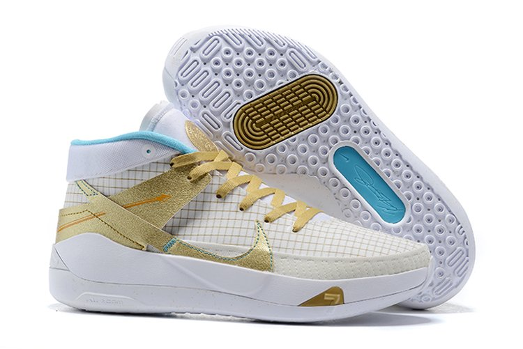 2020 Nike KD 13 EYBL White Metallic Gold-Light Aqua For Sale
