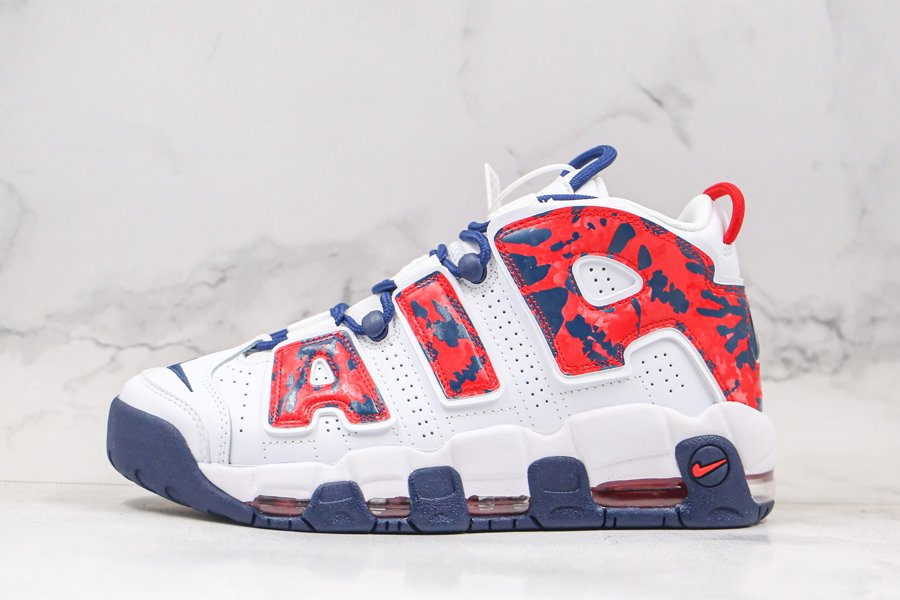 Nike Air More Uptempo USA Tie-Dye Red and Navy Camo For Sale