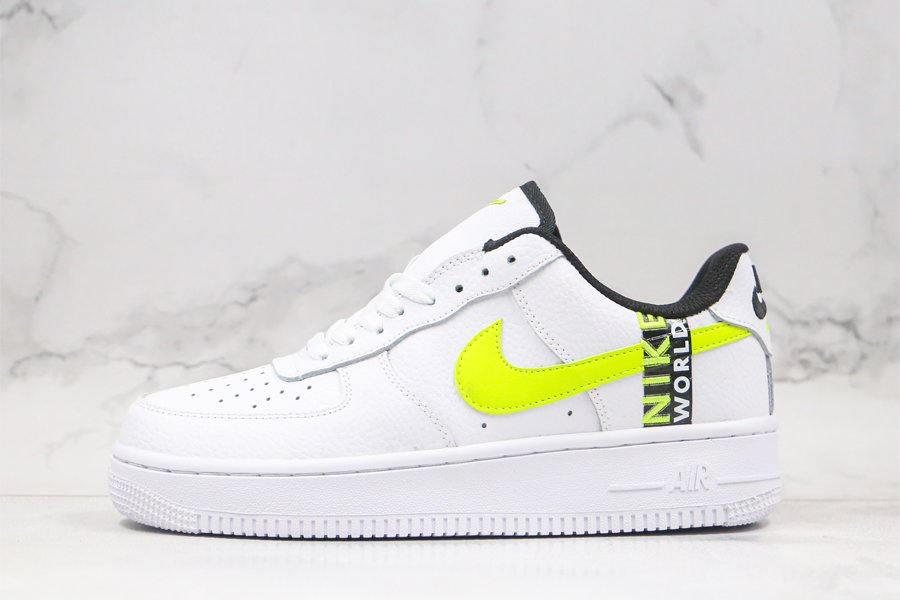 Nike Air Force 1 Worldwide in White and Volt