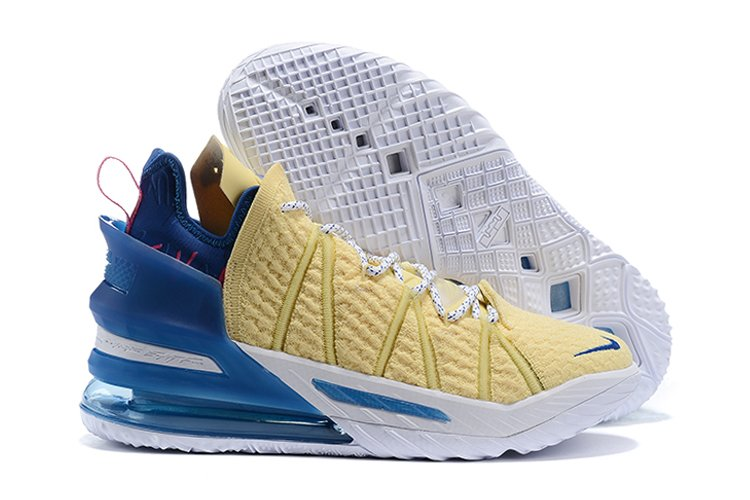 LeBron 18 Yellow Blue 18th Mainline Signature Sneaker With NIKE