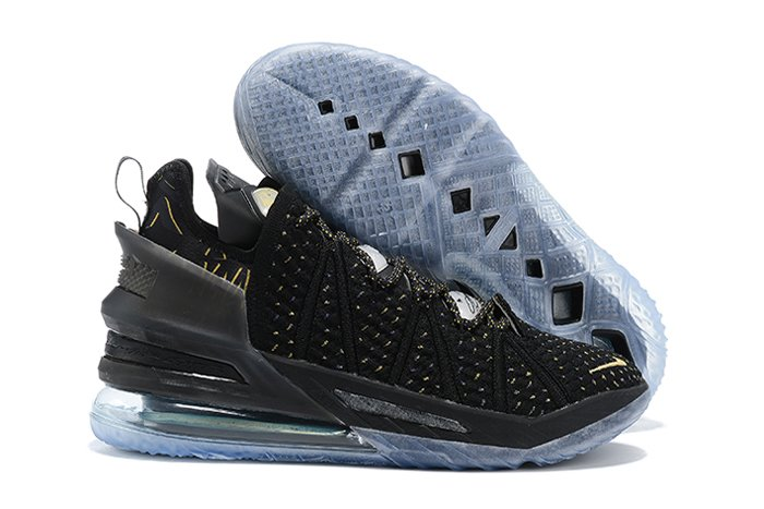 New Release Nike LeBron 18 Black Gold Sneakers Mens and Womens