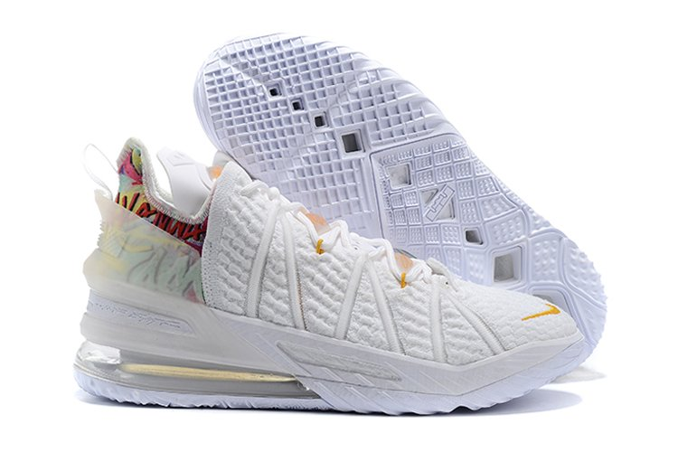 Nike LeBron 18 White Gold Basketball Shoes