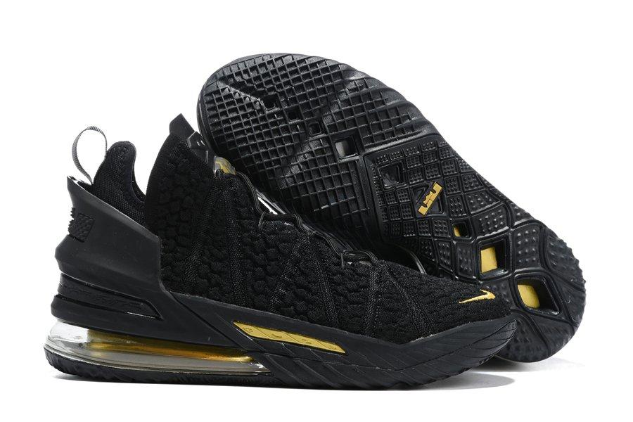 Nike LeBron 18 Black Metallic Gold Basketball Shoes For Sale
