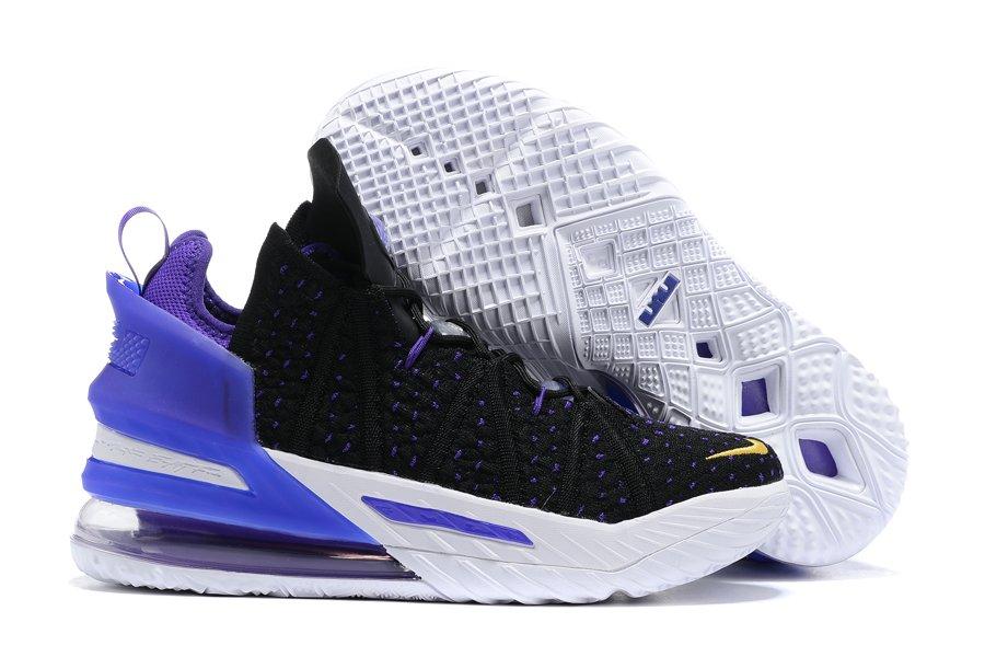 Nike LeBron 18 Lakers Black White Purple To Buy