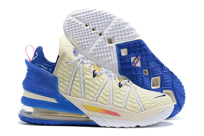 Nike LeBron 18 Los Angeles By Day Light Cream Game Royal