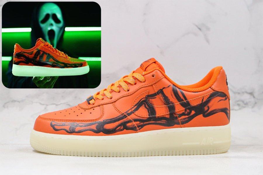 2020 Nike Air Force 1 Skeleton Orange Glows-in-the-Dark Sole