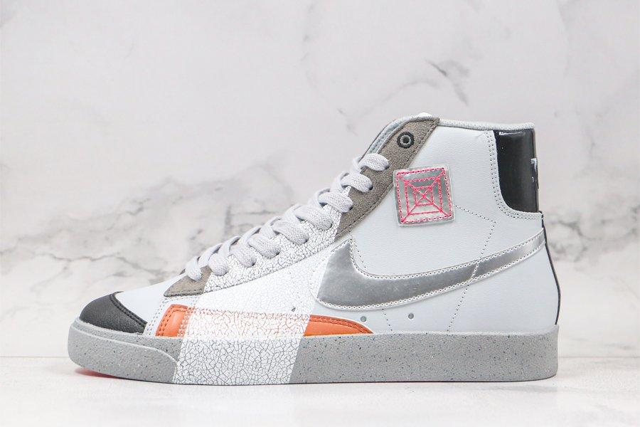 Nike Blazer Mid White Grey-Metallic Silver With Paint Strokes