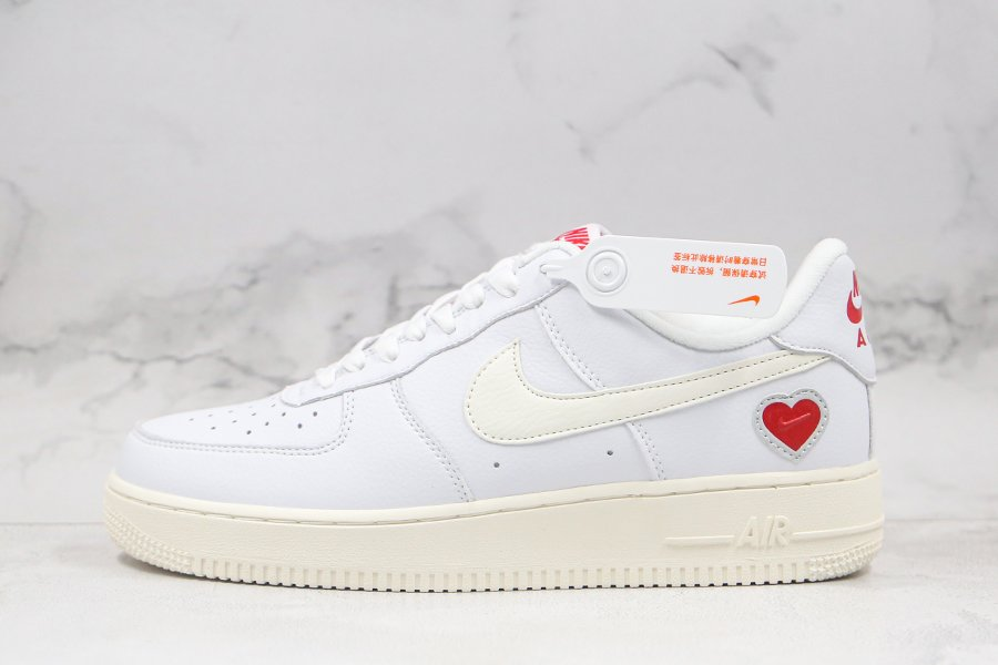 2021 Nike Air Force 1 Low Valentines Day White Sail Red DD7117-100 Sale