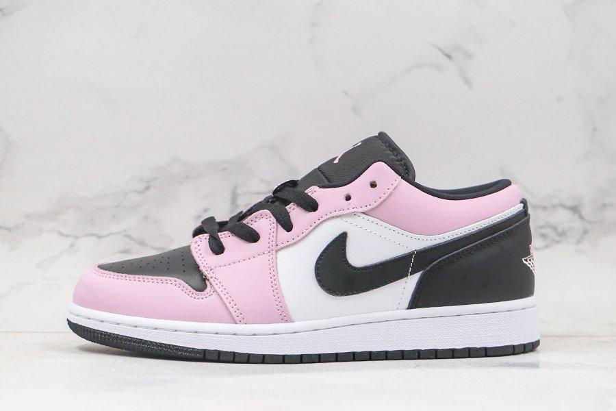 Air Jordan 1 Low GS Light Arctic Pink Black-White 554723-601 For Sale