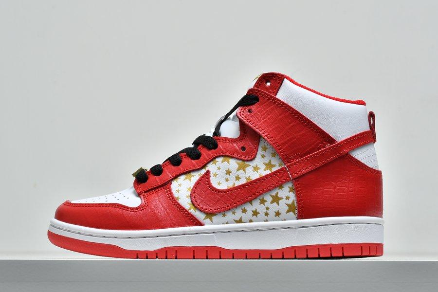 Buy 307385-161 Nike Dunk High Pro SB Supreme Red Stars