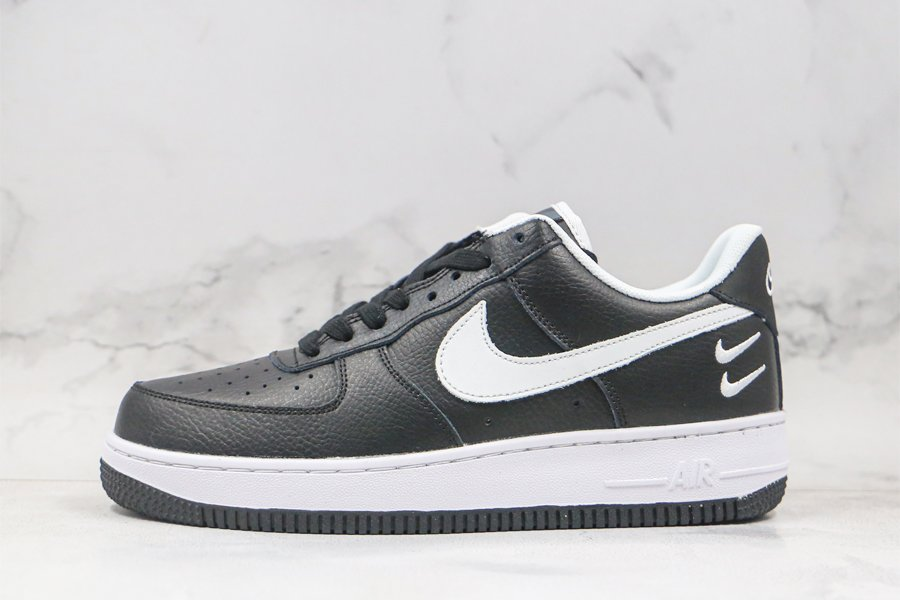 Nike Air Force 1 Low Black and White With Double Mini Swooshes