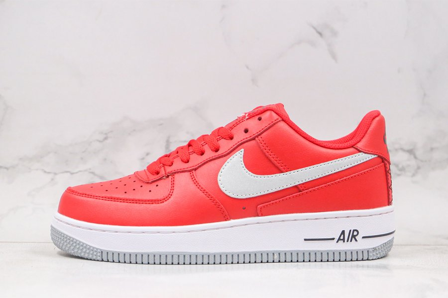 Nike Air Force 1 Low Red Grey With Heel Black Stitch