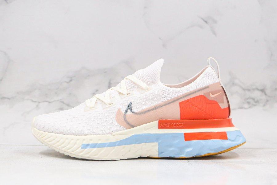 Nike W React Infinity Run FK PRM Platinum Tint Psychic Blue-Team Orange