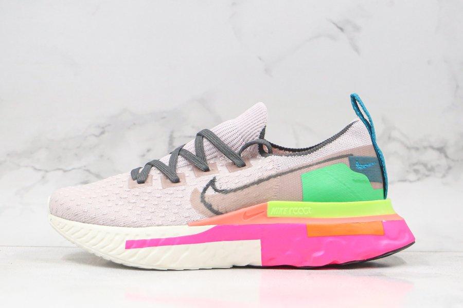 Nike WMNS React Infinity Run Flyknit Dark Smoke Grey Violet Ash-Pink Blast