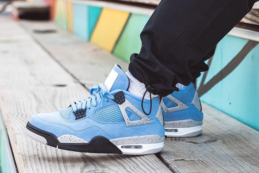 How the Air Jordan 4 University Blue Looks On-Feet