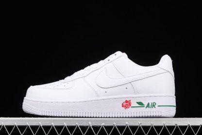 Nike Air Force 1 Low Rose White University Red-Pine Green