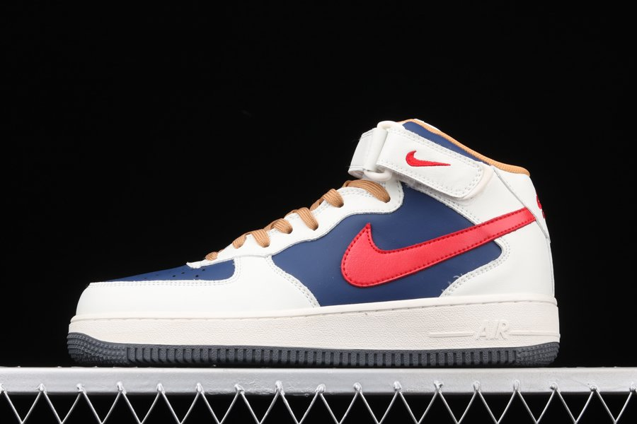 Nike Air Force 1 Mid White Dark Blue Red On Sale