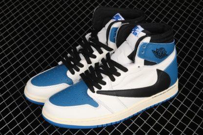 Travis Scott x Fragment x Air Jordan 1 High OG Blue Lateral