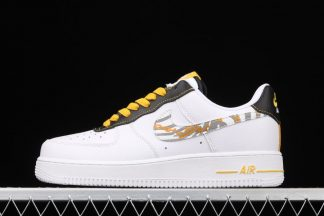 White Nike Air Force 1 Low With Zebra Print And Gold Links Detailing