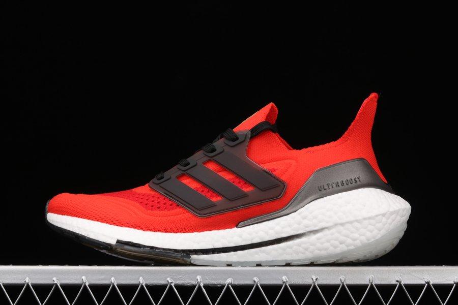 adidas Ultra Boost 21 Solar Red Black-White