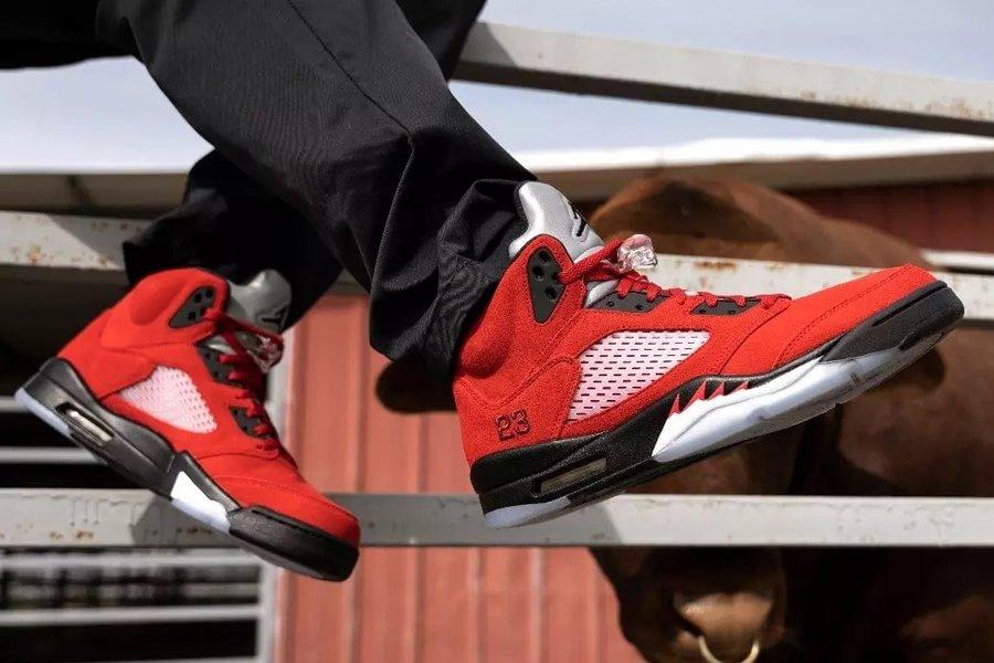 2021 Air Jordan 5 Raging Bull DD0587-600 On Feet