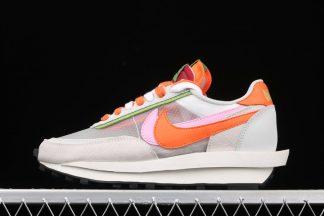 CLOT x sacai x Nike LDWaffle Net Orange Blaze-Pink