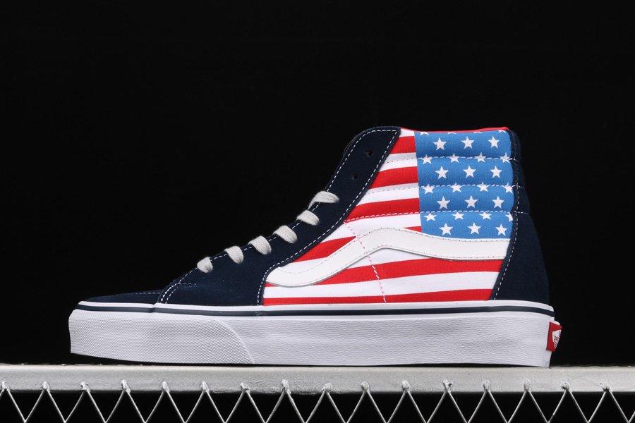 Vans SK8-Hi Vlt LX American Flag Stars Stripes Black - FavSole.com