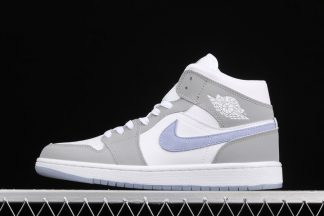 Air Jordan 1 Mid Grey White With Blue Suede Swooshes
