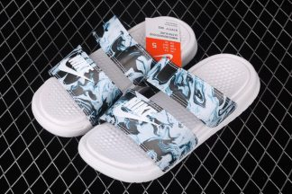 Nike Sportwear Womens Benassi Duo Ultra Slide White Blue Black