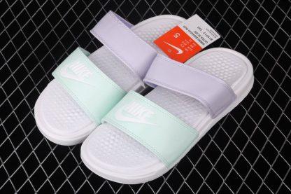 Womens Nike Benassi Duo Ultra Slide White-Oxygen Purple-Teal Tint