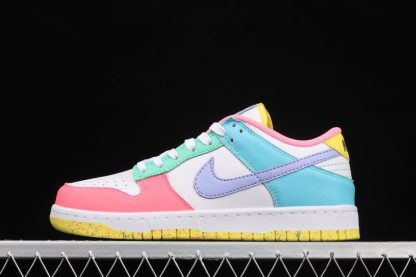 Womens Nike Dunk Low SE Easter White Green Glow-Sunset Pulse