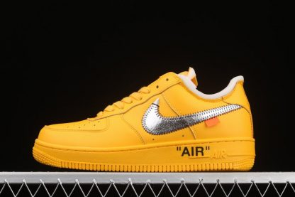 2021 Off-White x Nike Air Force 1 Low University Gold Metallic Silver